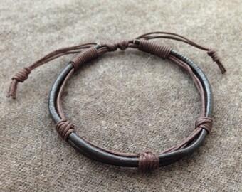 handmade adjustable brown leather men bracelet