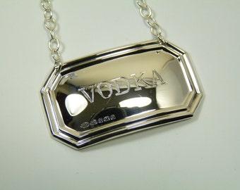 Sterling Silver - Deco DECANTER / Wine Label - VODKA - Boxed