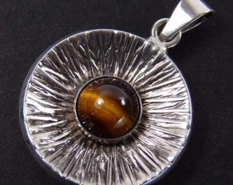 Swedish Silver - Tigers Eye Mid-century Pendant - Unknown Maker - 1970