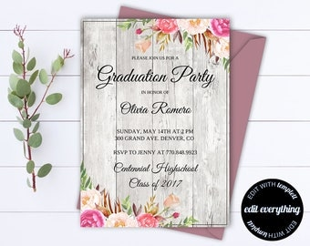 Floral Senior Graduation Party Invitation Template - Senior Graduation Template - Senior Graduation Invite - Senior Graduation Announcement