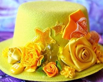 Yellow Teddy Bear Decora Hat, Fairy-kai Hat, Lolita Mini Top Hat