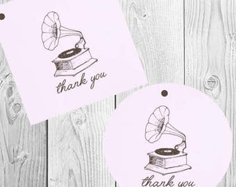 Vintage Music Favor Tags (Set of 20) - Gift Tags, Shower Favors, Circle Tags, Square Tags, Purple, Thank You Tags, Party Tags, Record Player