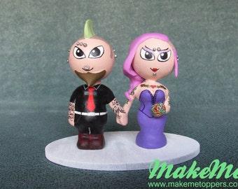 Custom Wedding Cake Topper - Punk Bride and Groom