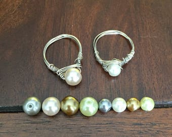 Wire Pearl Glass Bead Ring