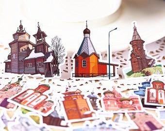35pcs Fiction City- Japanese scrapbooking stickers,scrapbooking,decorative stickers, japanese stickers,decor stickers,kawaii stickers