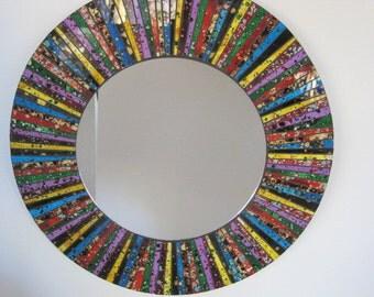 Reverse Painted Art Glass Mosaic Mirror