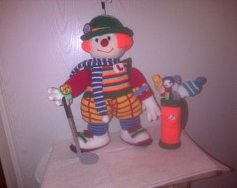 Hand Knitted Golfer with golf bag and clubs 21 inches tall