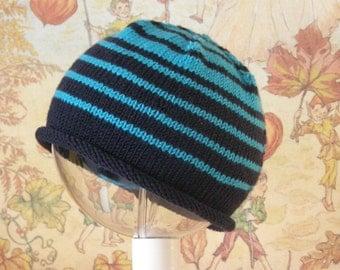 Knitted Wool Babyhat Beanie Cool Blue Stripey Babymutsje
