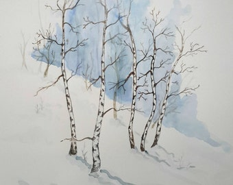Original winter birch landscape watercolour painting, birch watercolour, landscape painting, nature painting