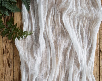 White Gauze Table Runner For Wedding Neutral Centerpieces Runner,  Cheesecloth Table Runner Hand Dyed Runner