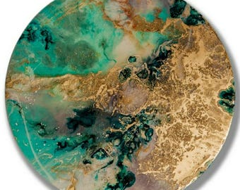 "Painting Resin Inks pigments goldpowder round 30 cm ""Calypso"" canvas resin inks and pigments round 30 cm"