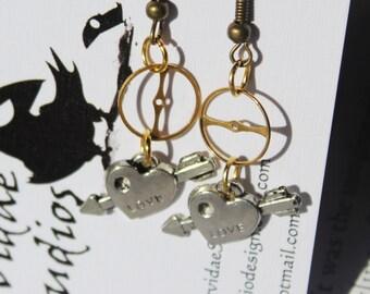 Steampunk Love Earrings