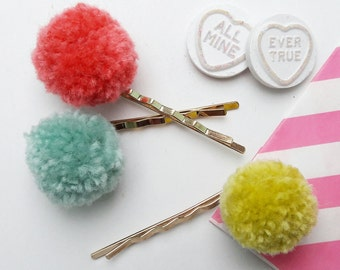 Pompom Hair Slides - Various colours available