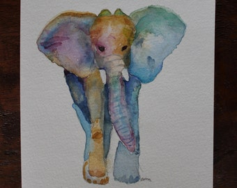 Watercolor Elephant Card with Envelope