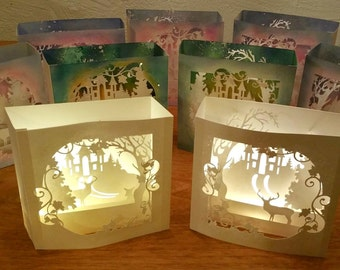 Illuminated 3D pop up winter scene, shadow box card with led light. Christmas decoration, Forest, deer, castle, glitter, light box