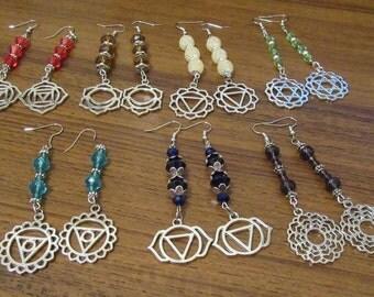 Chakra Gemstone Crystal Earrings