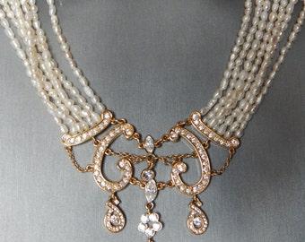 Elegant NAPIER Rice Pearl & Rhinestone Bib Necklace - Bridal Beauty