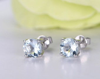 Blue Aquamarine Earrings In 14k 18k White Gold A Pair Of Beautiful Clip Earrings