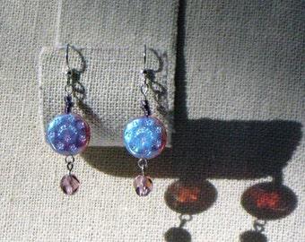 Purple & Green Iridescent earrings