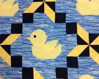Baby Ducks Quilt Baby Blanket Machine Quilted Blue Black Babies