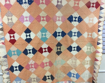 Antique Vintage 1930's Quilt Hand Quilted Heirloom Quality Ice Cream Cone edging