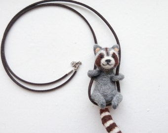 Raccoon necklace needle felted animal cute raccoon pendant needle felting tiny animals needle felted jewelry animal lover gift felted wool