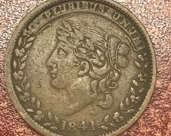 1841 Large Cent Hard Times Token Millions For Defence Not One Cent For Tribute