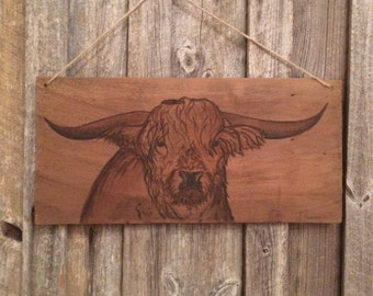 Highland cow, scottish, hand painted, upcycle reclamed wooden shingle, wall art picture
