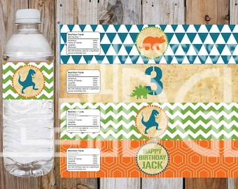Dinosaur Water Bottle Labels for Kids Birthday