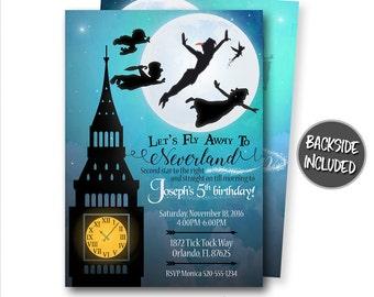Peter Pan Invitation, Peter Pan Birthday Invitation, Peter Pan Party, Neverland Invitation, Peter Pan, Personalized, Printables, Digital