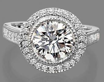 Gorgeous Vintage 3.45 Carat Natural Round Cut Diamond Halo Engagement Ring In 14K White Gold