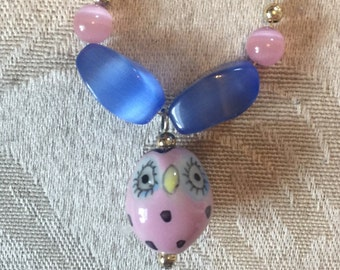 Pink owl necklace