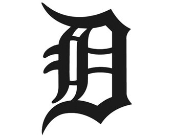 """Detroit Old English """"D"""" Tigers Sports Vinyl Decal"""