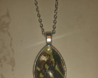 Black and green wing necklace