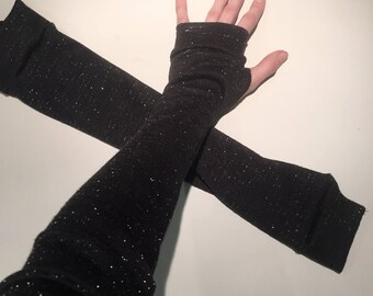 Trixy Xchange Elbow Length Black Glitter Gloves with Thumb Holes Black Arm Warmers Black Sleeves Black Armwarmers with Finger Holes Cosplay