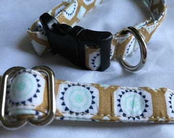 READY TO SHIP - Small Dog Collar - Tan, Teal, and Blue shapes