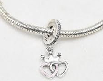 Pandora Charms Crowned Hearts Orchid Pink Clear CZ Dangle Charm Bead
