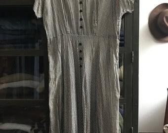 Vintage 1940s Sheer black and white gingham day dress short sleeve 40s