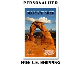 Personalized Arches Poster, arches print, arches national park, national park poster, delicate arch, travel poster, custom travel poster