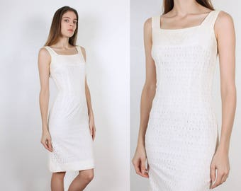 60s Eyelet Wiggle Dress // Vintage Sheath White 1960s Fitted Pencil Dress - Extra Small xs