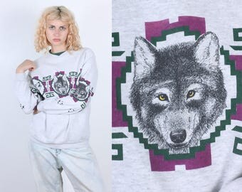 90s Wolf Sweatshirt // Vintage Slouchy Pullover Grey Animal Jumper - Medium to Large