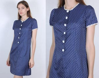 60s Polka Dot Dress // Vintage Button Up Shift Dress Navy Blue White 70s - Small
