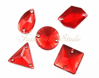 50pcs Neon Red Sew On Flatback Resin Gems ead02b97a563