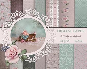 Digital paper pack, Dusty aqua background, pearl texture, vintage digital paper, retro,scrapbook baby paper