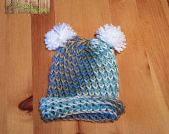 Hat for fall or spring for newborn knitted Beach color