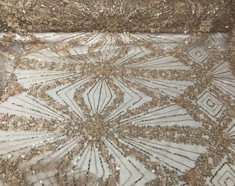 Dusty Rose Embroidered & Heavily Beaded Lace Fabric Available By The Yard