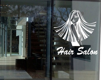 Wall Decal Sticker Bedroom Hair Salon Beauty Girl Business Window Sticker 329b