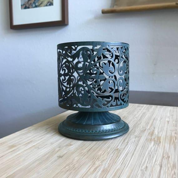 Dark Verdigris Green Ornate Pedestal Light: Vintage Gothic Verdigris Scroll Pedestal 3-Wick Candle