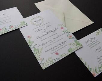 Printable Wedding Invitation Set, Love birds, Calligraphy