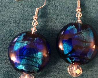 Shades of Blue Glass and Crystal Earrings